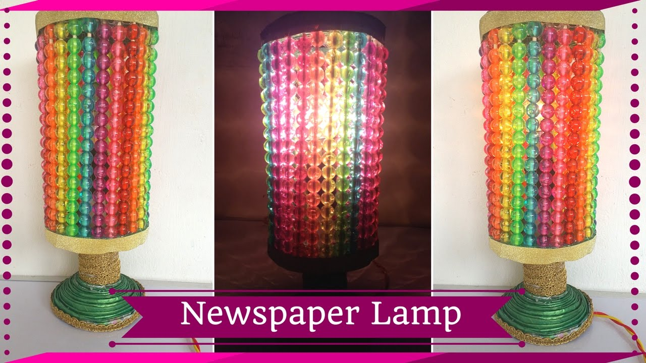 Diy newspaper night lamp how to make lamp out of newspaper diy newspaper night lamp how to make lamp out of newspaper best out of waste maya kalista geotapseo Gallery