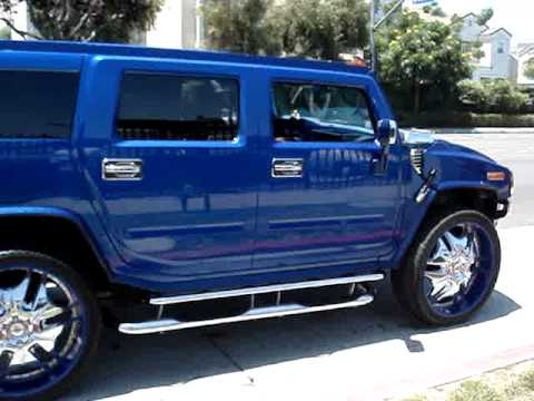 BLUE HUMMER ON 28's PLATINUM STYLE AUTO BODY - YouTube