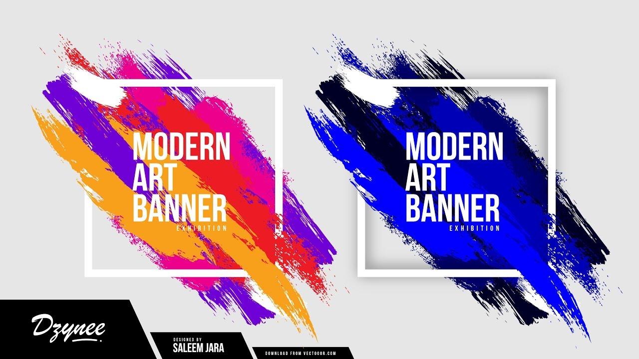 illustrator tutorials modern art banner youtube