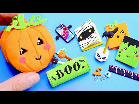 13 DIY Halloween Miniature Doll Accessories - School backpack, Pen, Pencil Case | Simple kids crafts