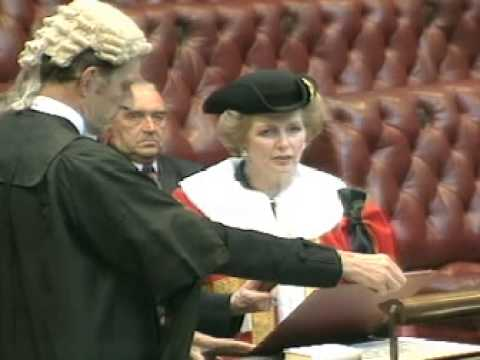 Margaret Thatcher takes her place in the House of Lords