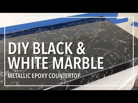 DIY Black & White Marble Countertop Resurfacing With Epoxy Resin