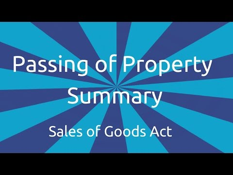 Summary Passing of Property | Transfer of Ownership and Delivery | CA CPT | CS & CMA Foundation