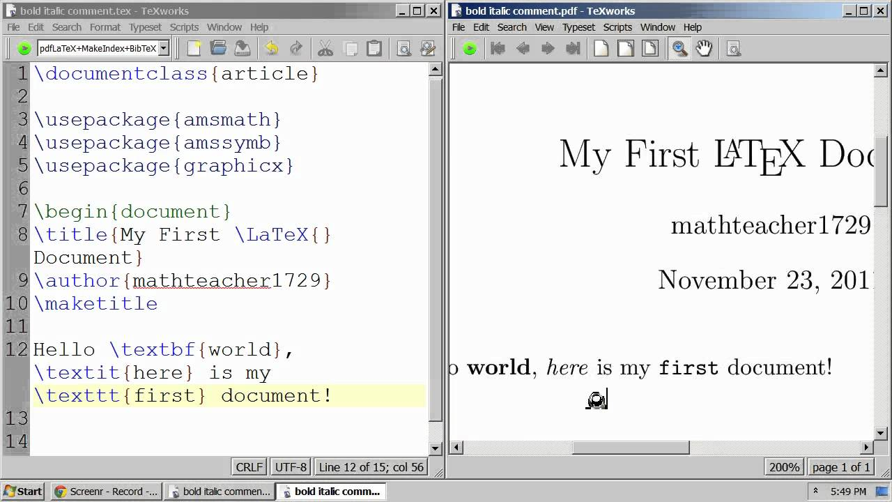 LaTeX Tutorial 20 bold, italic, fixed-width font, and commenting