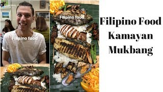 ITALIAN TRIES AUTHENTIC FILIPINO FOOD KAMAYAN (BOODLE FIGHT) MUKBANG | TINUNO TORONTO | Vlog 30