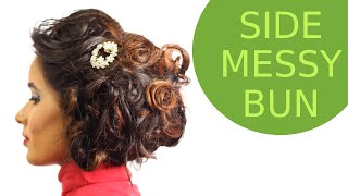 Hairstyles - Side Messy Bun Using Hot Curls Thumbnail