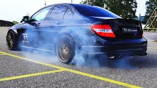 Repeat youtube video Mercedes C63 AMG Sound V8 6.2L Acceleration 0-200 Autobahn Onboard BURNOUT