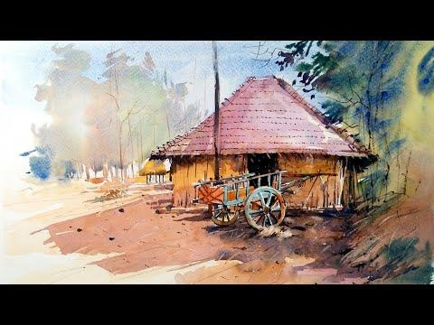 Watercolor Landscape Villege Painting/ Demonstration
