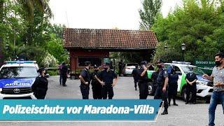 Hier starb die Legende: Polizeischutz vor der Maradona-Villa!