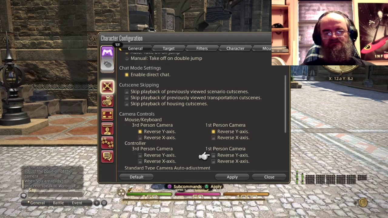 How to invert the Y axis in Final Fantasy XIV on PS4