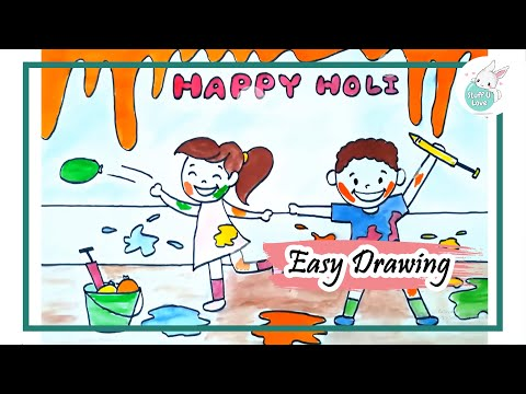 How To Draw Kids Celebrating Holi Festival Drawing Tutorial For Kids