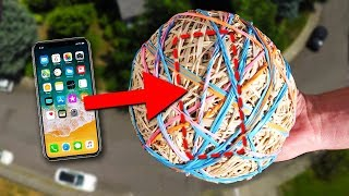 iPhone X GIANT Rubberband Ball Drop Test! Will it Survive?