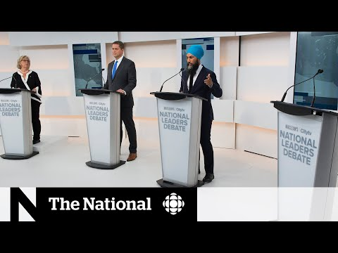 Party leaders square off at 1st federal election debate, without Trudeau