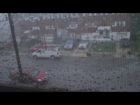 Crazy tornado effect in Philly at 3am