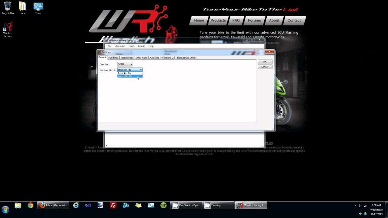 Settings available in the Woolich Racing Tuned (WRT) software