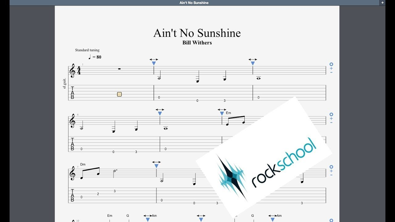 Ain T No Sunshine Rockschool Debut Grade Guitar Youtube Here are the most popular versions chords, ukulele chords. ain t no sunshine rockschool debut grade guitar