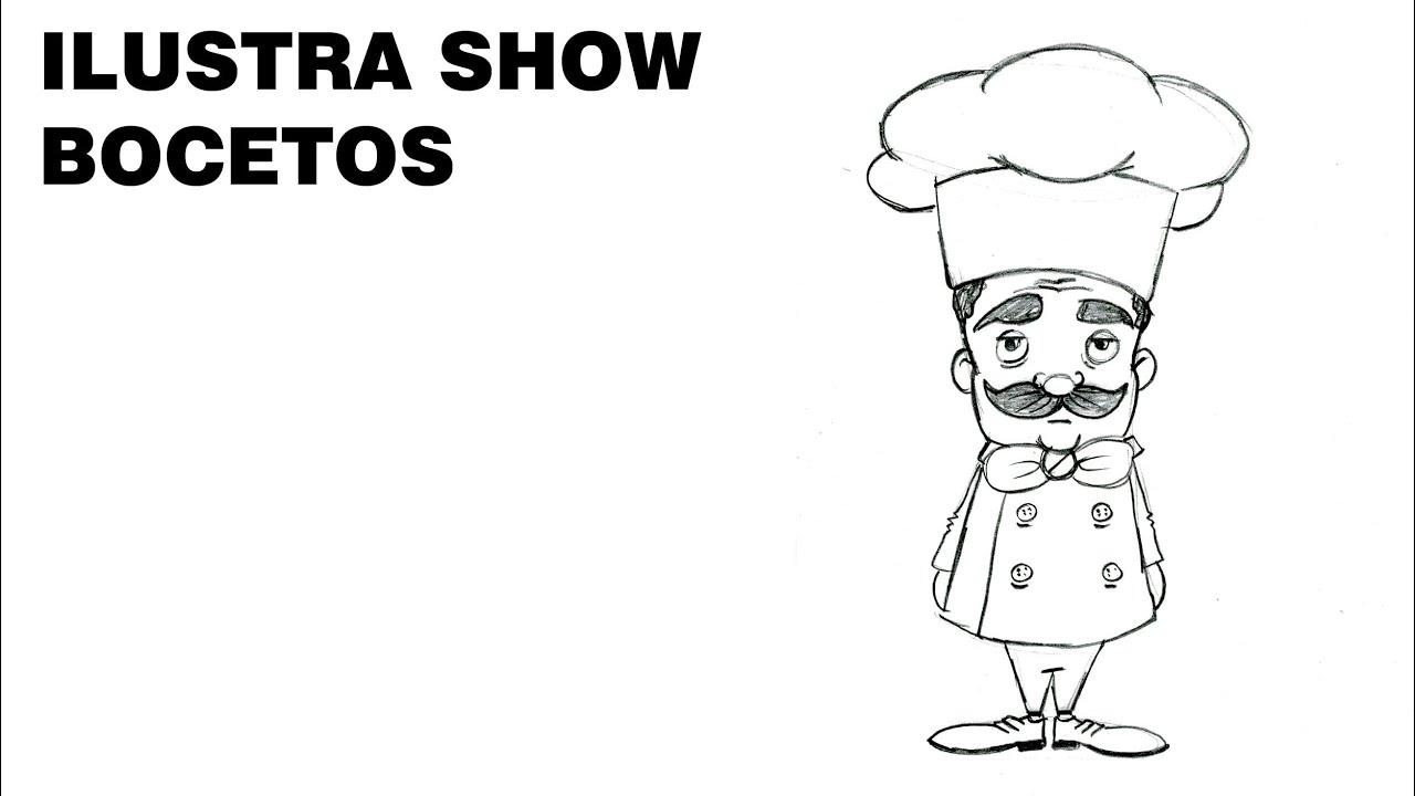 Bocetos c mo dibujar chef cocinero 2 tutorial ilustra show for Herramientas de un cocinero