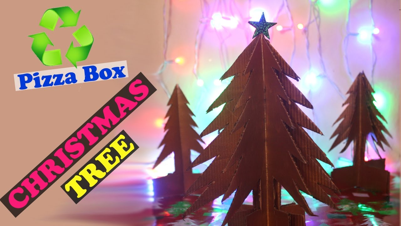 Pizza Box Christmas Tree Best Out of Waste Christmas Tree Ideas