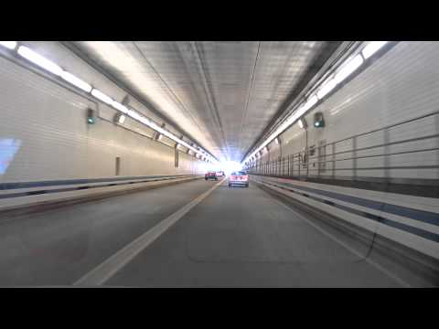 Driving in USA - Hampton Roads Bridge Underwater Tunnel, Norfolk Virginia