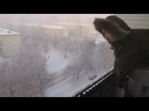 Boiling water freezes instantly in Siberia's -41C weather