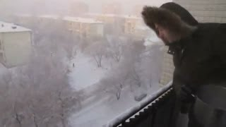 Boiling water freezes instantly in Siberia