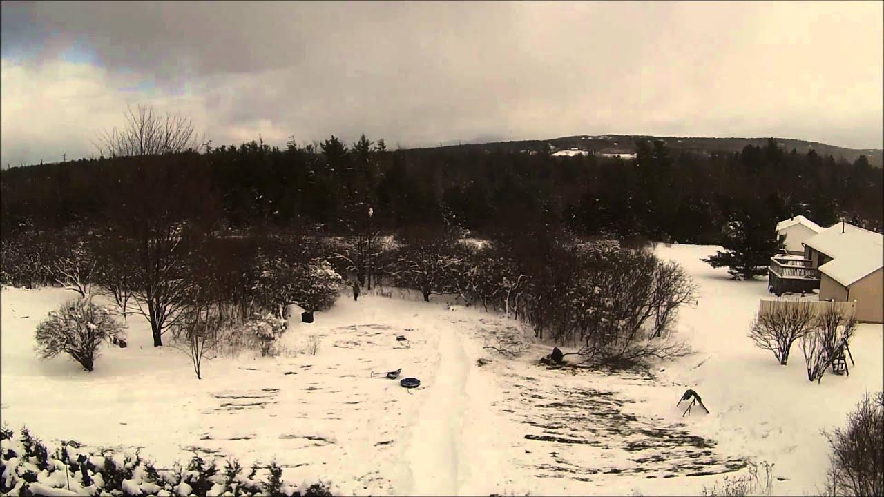 backyard sledding track youtube