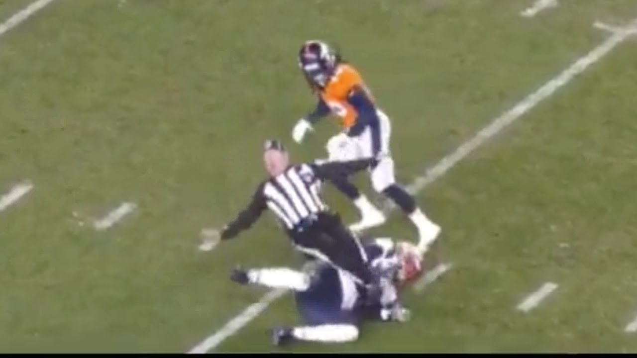 Referee Gets Tackled And Is Carted Off Patriots Vs Broncos Nfl