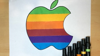 How to Draw the Rainbow Apple Logo | Logo Drawing