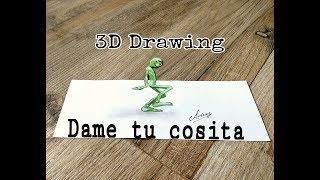 Dame tu cosita alien dance challenge - Funny dance move by alien 3D darwing - 3D Trick Art On Paper