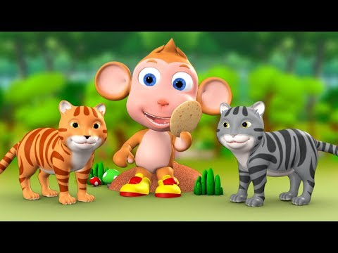 Monkey & Two Cats 3D Animated Hindi Moral Stories for Kids बंदर और दो बिल्ली हिन्दी कहानी Kid Tales