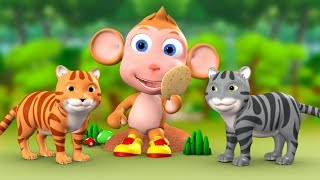 Monkey & Two Cats 3D Animated Hindi Moral Stories for Kids बंदर और दो बिल्ली हिन्दी कहानी Kid Tales