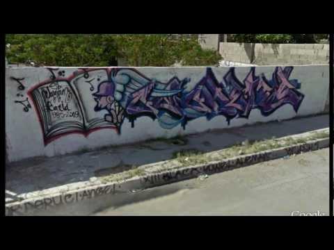 Juarez, Mexico graffiti screenshots from Google Earth Street View