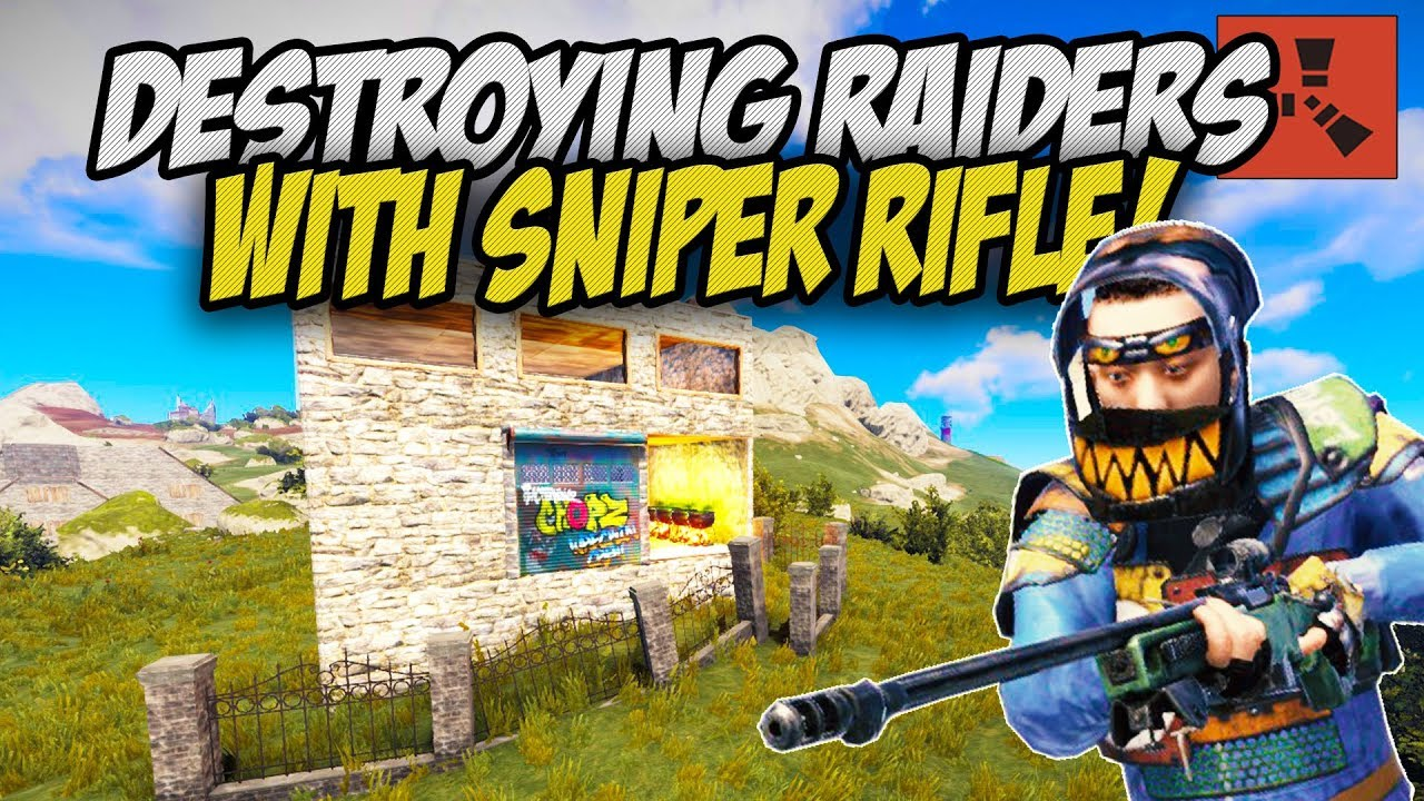 DESTROYING RAIDERS with the L96 SNIPER RIFLE! - Rust Solo Survival Gameplay