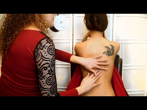 Beautiful Back Tickle ASMR ♥ tickling, Tracing, Light Massage with Ear to Ear Whispering