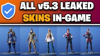 *NEW* Fortnite v5.3: LEAKED SKIN EMOTES IN-GAME GAMEPLAY! (ALL LEAKED SKINS)