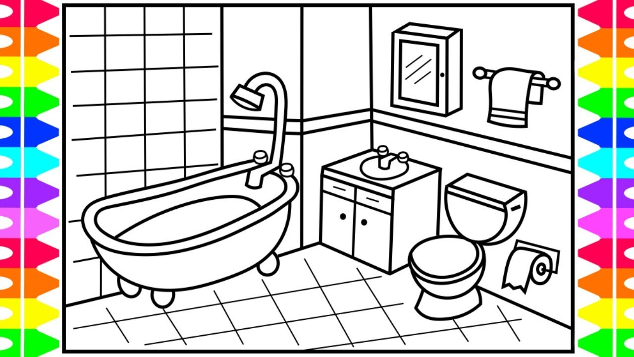 how to draw a bathroom step by step for kids ��� bathroom