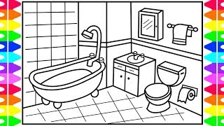 How to Draw a Bathroom Step by Step for Kids 💙 Bathroom Drawing | Bathroom Coloring Pages for Kids