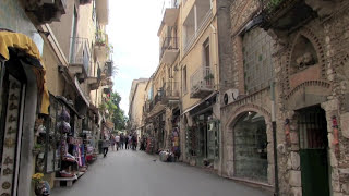 STREETS of TAORMINA, SICILY ITALY with ANCIENT THEATRE