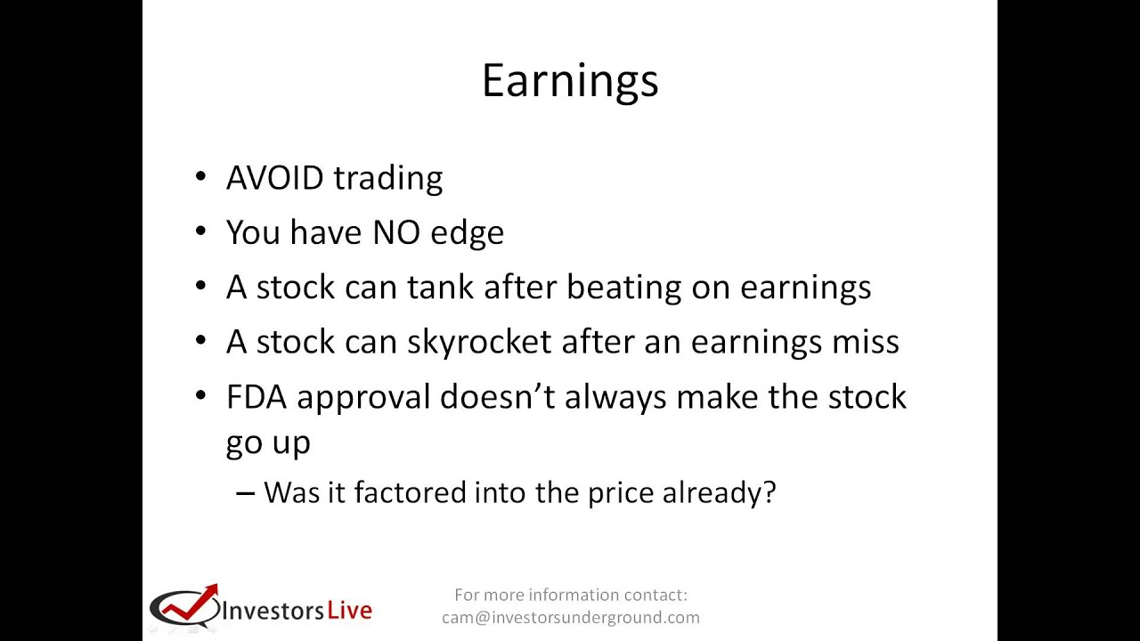 Day Trading Lesson - How to trade Earnings & FDA approval