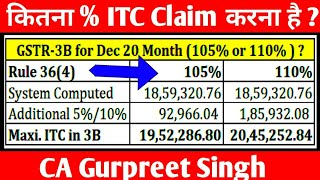 How to file GSTR3B for Dec 20 month || CGST Rule 36(4) ITC - 110% or 105 % ?
