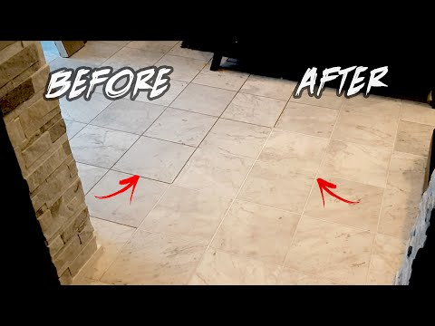 How To RESTORE TILE GROUT in 1 HR... DIY Before & After - Clean Grout Between Lines