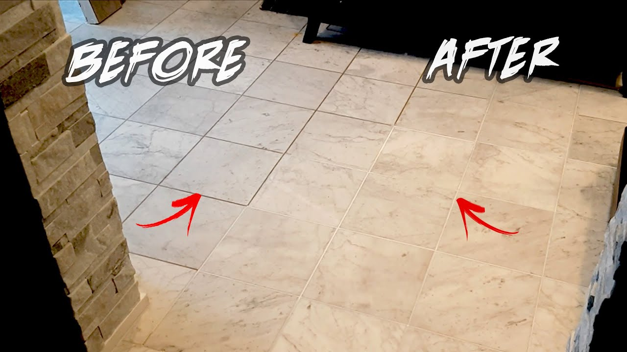 How To Restore Tile Grout In 1 Hr Diy Before After Clean Grout Between Lines Youtube