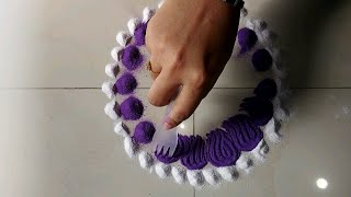 Simple Rangoli Design Using Fork and 2 Colours / Very Easy And Quick Rangoli