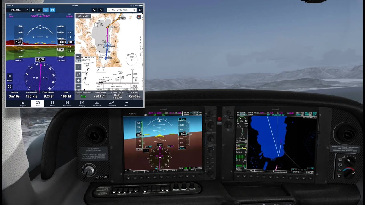 FSX & ForeFlight Synthetic Vision | Cirrus SR22T | KTVL