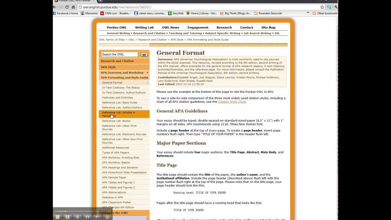 """APA Formatting """"Owl At Purdue"""" Webpage Introduction Mp4"""