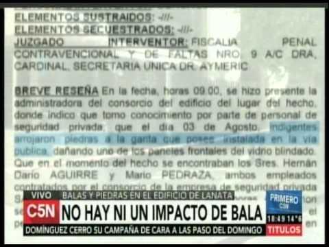 C5N - Piedras en el edificio de Lanata: No hay impactos de bala