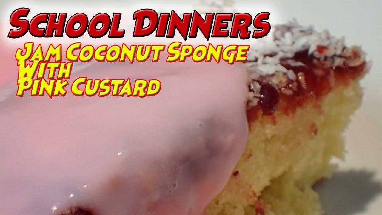 Jam Sponge Cake With Pink Custard
