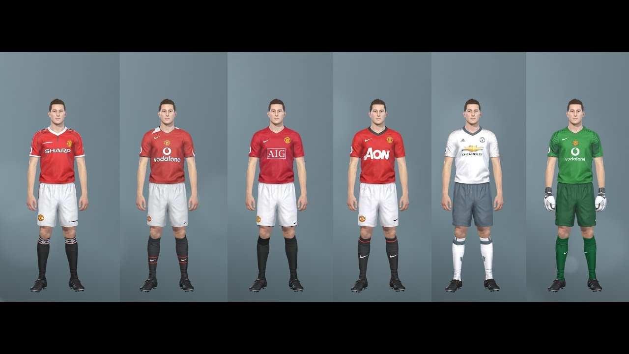 low priced 0aa2f 286da PES 2019 classic Manchester Utd kits (PC, PS4) Vodafone, Sharp, AIG,  Chevrolet, AON