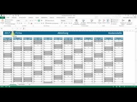 Kalender - Jahresplaner Excel 2013 - Teil 1