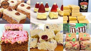 7 Top Christmas Slice Recipes | M&M, Malteser, Santa Hat, White Chocolate, Candy Cane, Baileys
